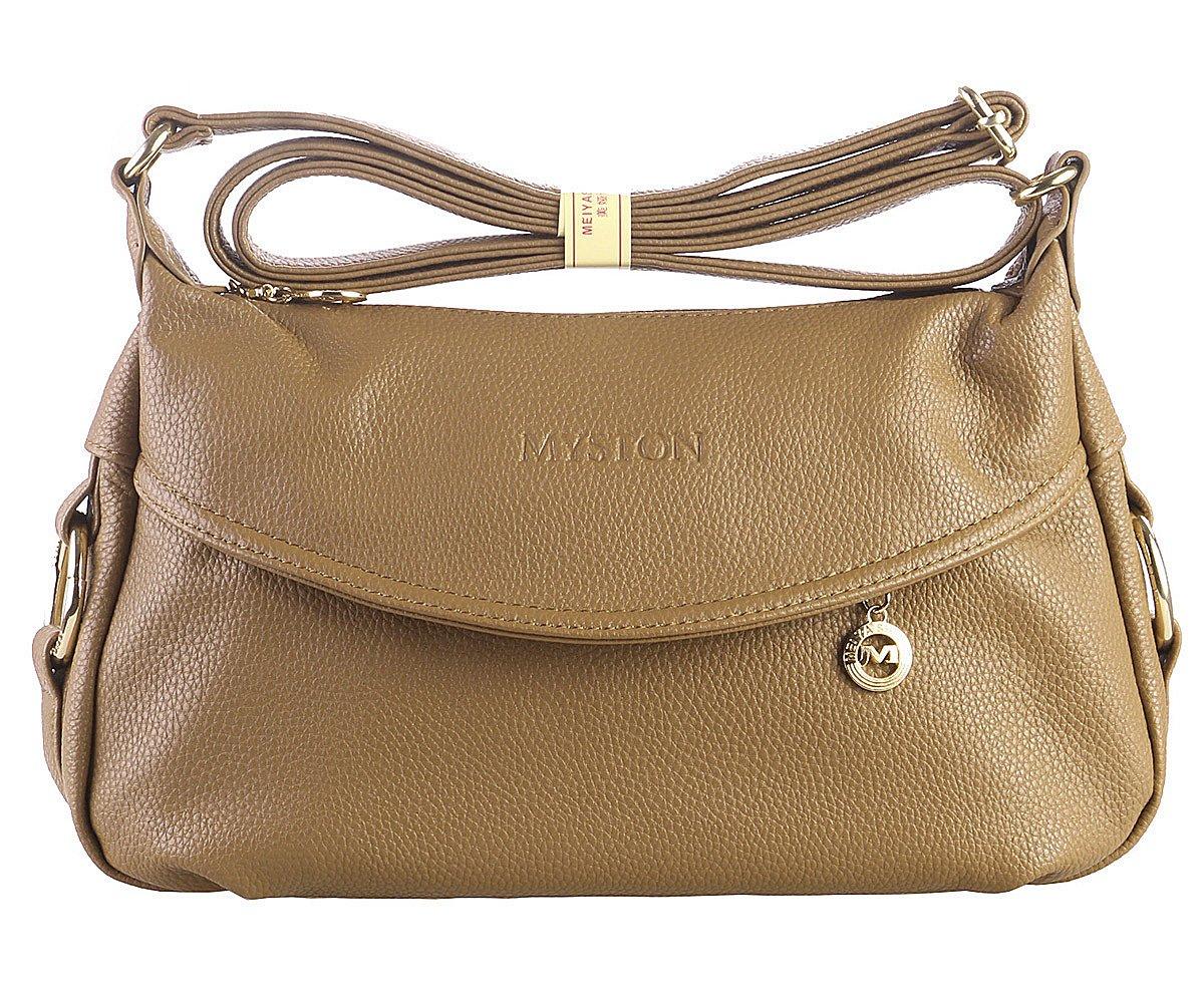 Women's Fashion Genuine Leather Cross Body Shoulder Bag Hobo Style Purse Satchel Handbag for Ladies (Deep Khaki)