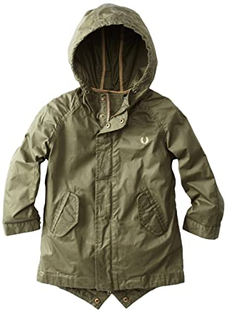 Amazon.com: Fred Perry Little Boys' Coated Cotton Fishtail Parka ...