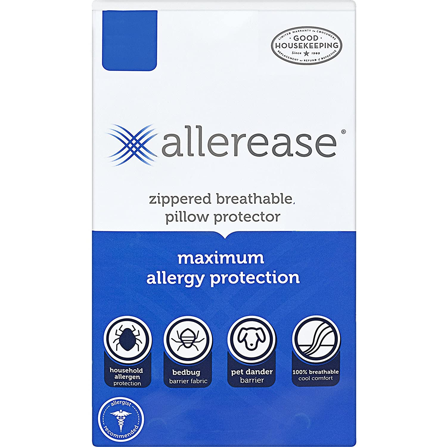 "AllerEase Maximum Allergy Protection Pillow Protectors – Hypoallergenic, Zippered, Allergist Recommended, Prevent Collection of Dust Mites, Bed Bugs and Other Allergens, King Sized, 20"" x 36"""