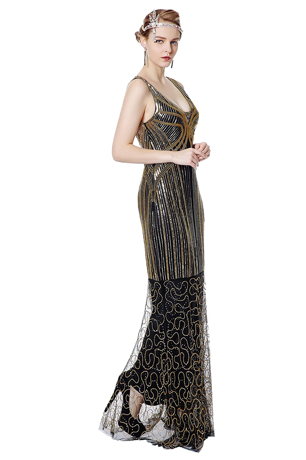 1920s Evening Dresses & Formal Gowns Metme Womens 1920s Inspired Sequins Art Deco Mermaid Evening Party Dress $42.99 AT vintagedancer.com