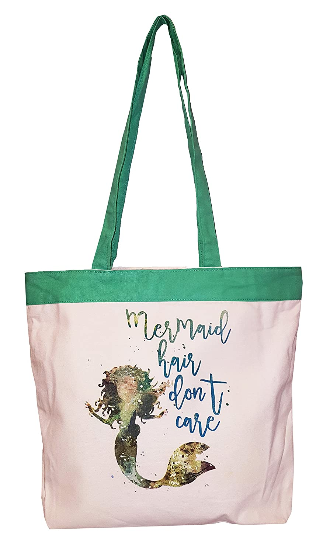 Mermaid Hair Don't Care Eco Friendly Beach or Carry All Shopping Zipper Top Tote Bag