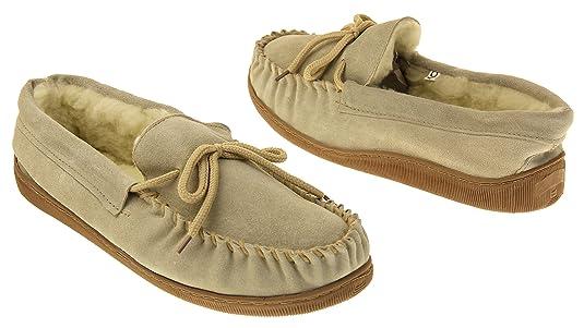 Footwear Studio Lodgemok Hombre Gamuza Forro de Lana Genuina Zapatillas de estar Por Casa Marrón EU 44 ECgvV