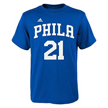 Adidas Boys NBA Philadelphia 76ers Joel Embiid Name and Number Fashion Tee Shirt, Youth Large