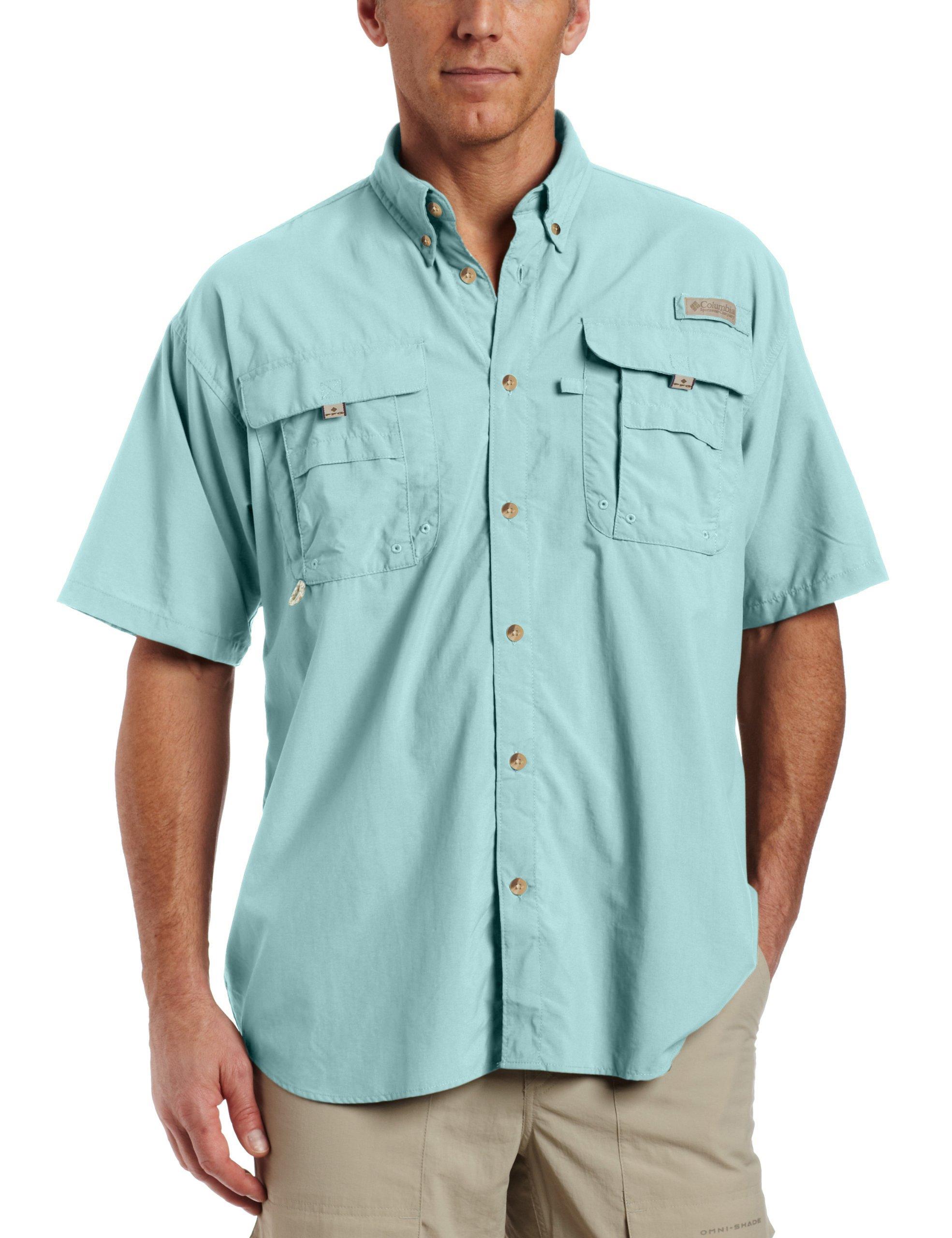 Columbia Men's Bahama II Extended Size Short Sleeve Shirt, Gulf Stream, XXXXX-Large