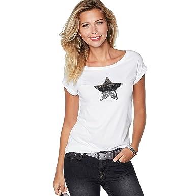 VENCA Camiseta Escote Redondeado y Manga Corta by Vencastyle, Blanco, M: Amazon.es: Ropa y accesorios