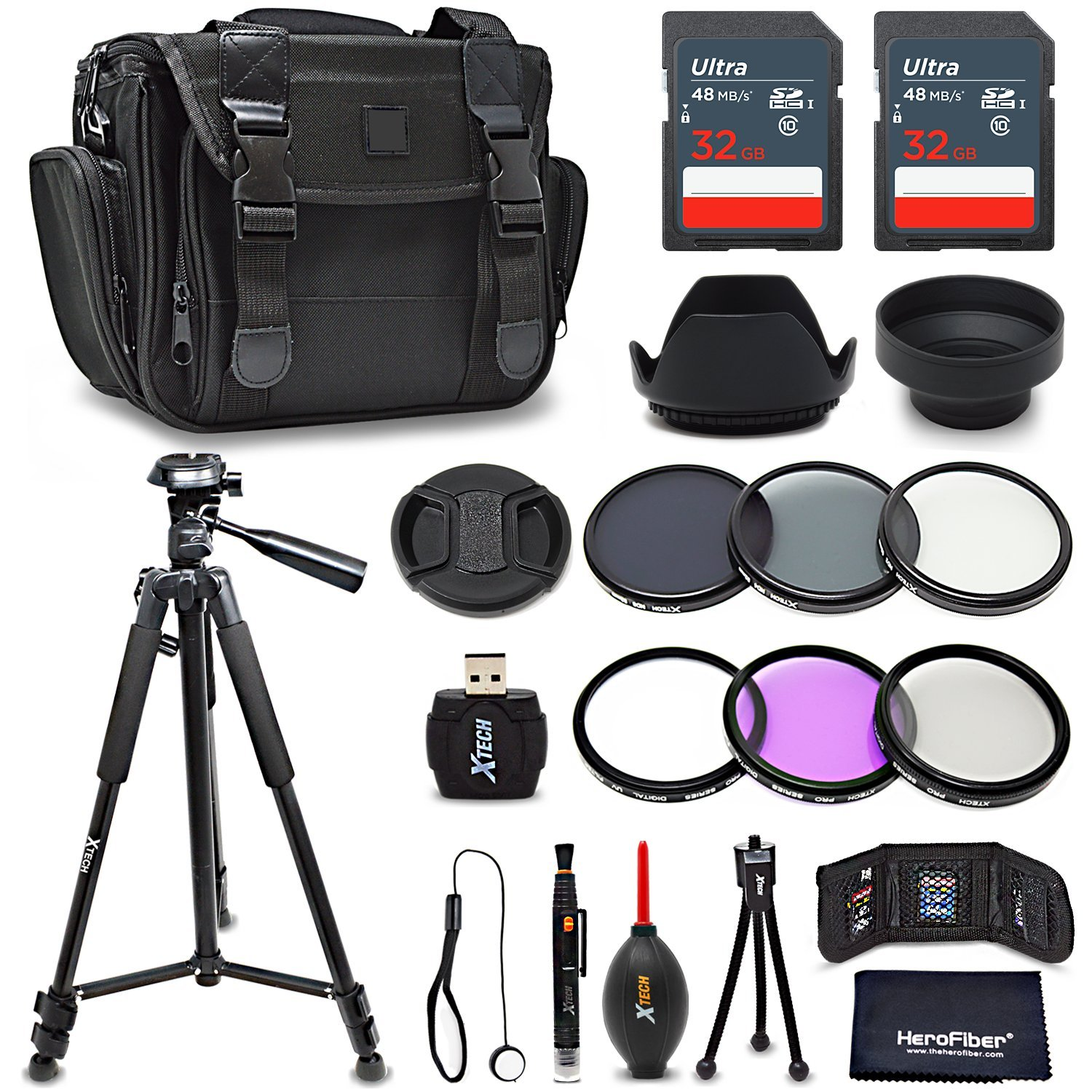 Premium 55mm Accessories Bundle Kit for DSLR Cameras - Includes 64GB Memory Card, Premium Camera Case, 72 inch Tripod, 55mm ND Filters, 55mm 3 Piece Filter Kit, 55mm Lens Hood + More by HeroFiber