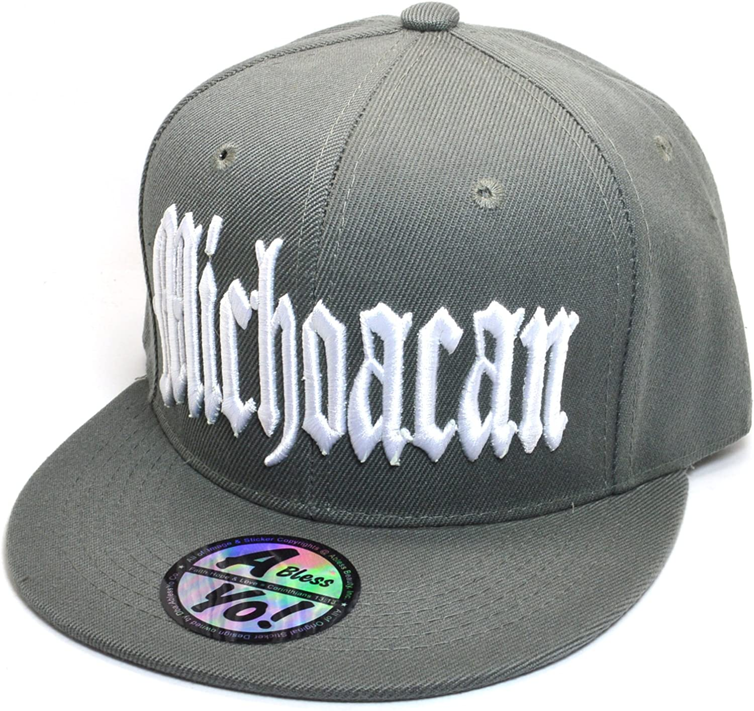 AblessYo Michoacan Mexico City Fitted Hat Closed Back Flat Bill Snapback Cap AYO4314