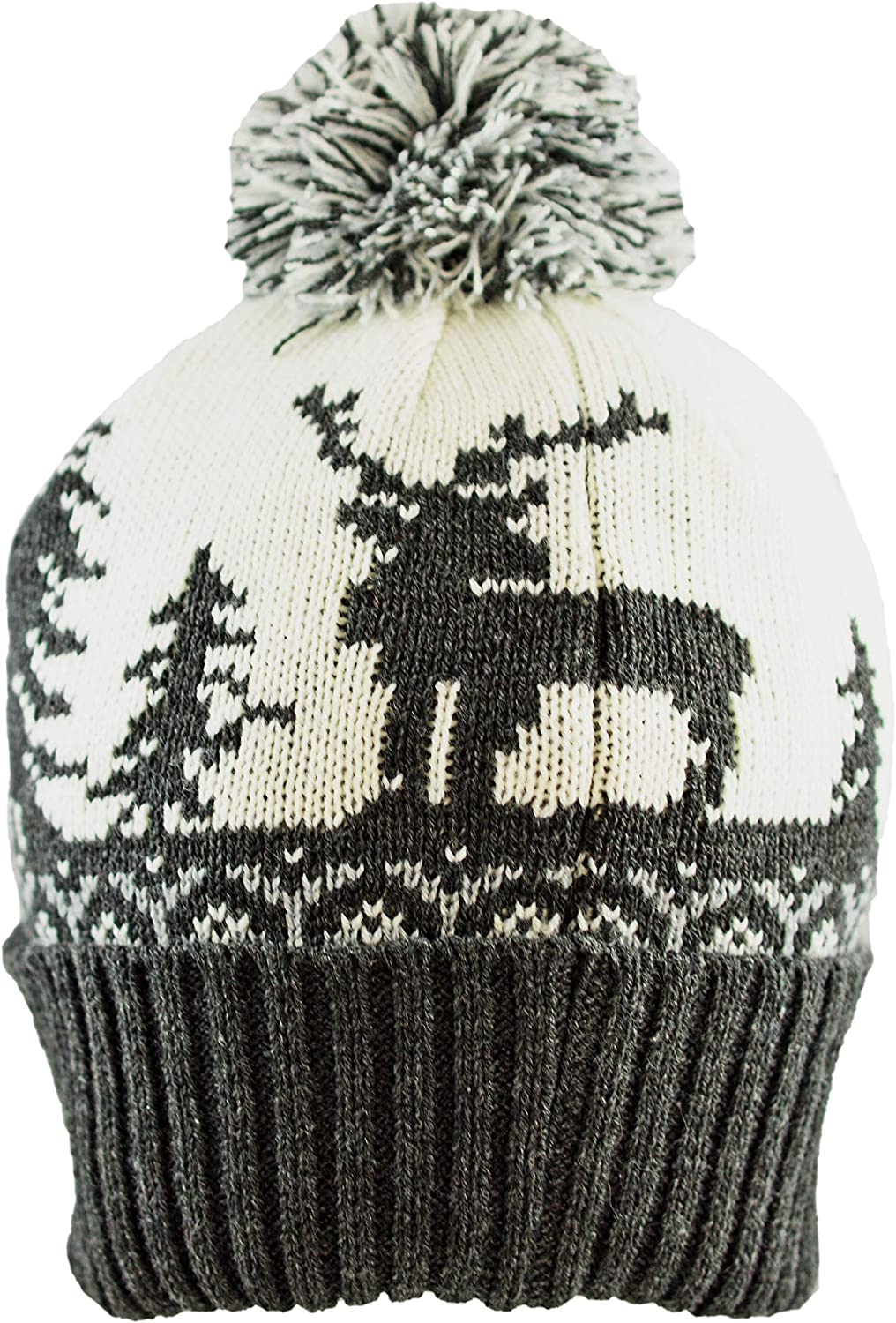 Pesci Kids Pom Pom Hat Boys Bobble Beanie Caps Winter Wooly Knitted Alpine Reindeer