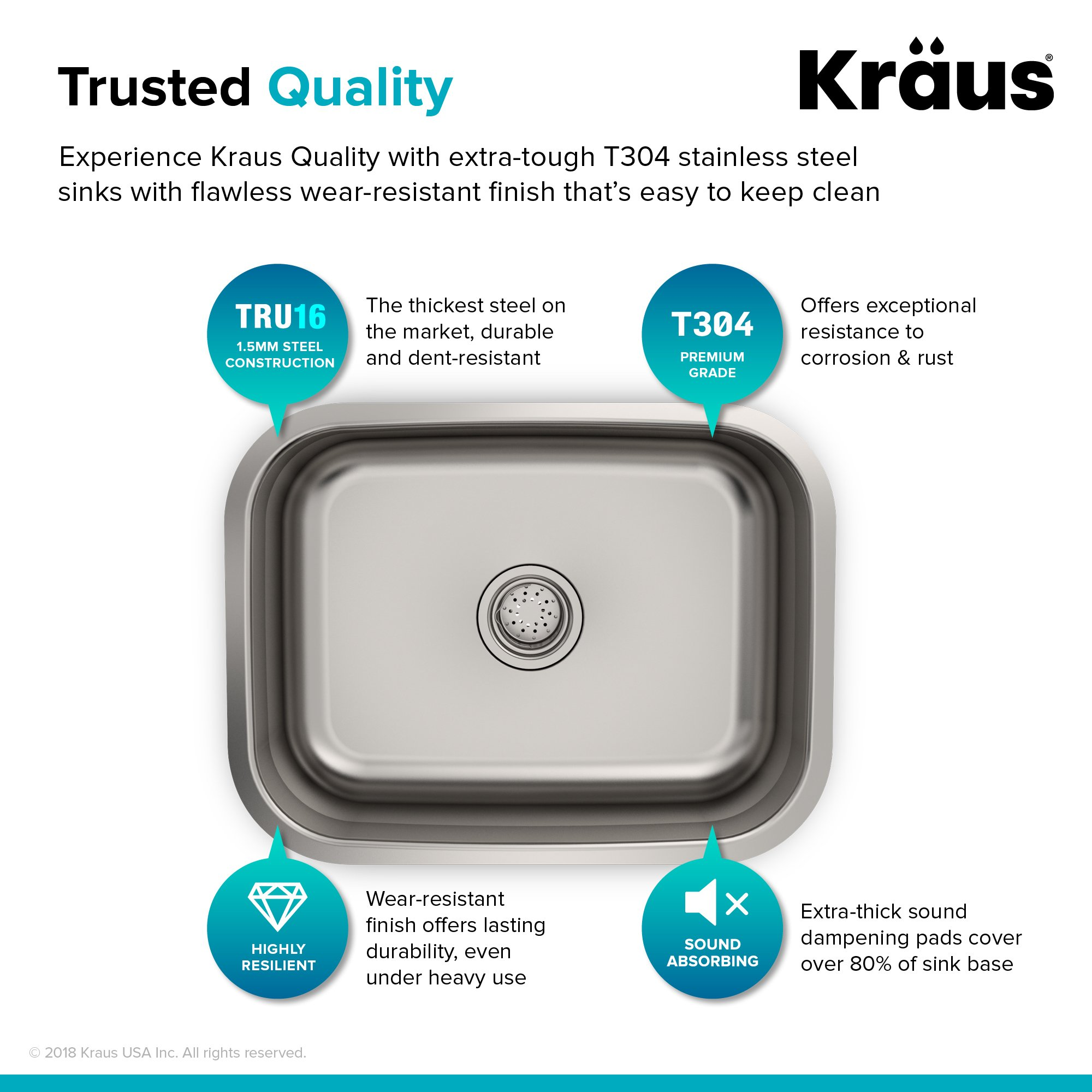 Kraus KBU12 23 inch Undermount Single Bowl 16 gauge Stainless Steel Kitchen Sink by Kraus (Image #9)