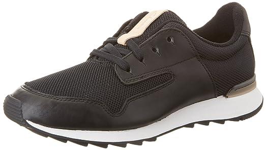 Floura Mix, Zapatillas para Mujer, Negro (Black Leather), 38 EU Clarks