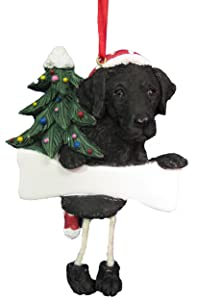 """Black Labrador Ornament with Unique """"Dangling Legs"""" Hand Painted and Easily Personalized Christmas Ornament"""
