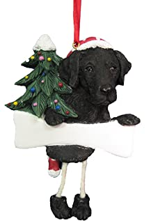 black labrador ornament with unique dangling legs hand painted and easily personalized christmas ornament - Labrador Outdoor Christmas Decoration