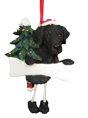 Black Labrador Ornament With Unique Dangling Legs Hand Painted And Easily Personalized Christmas