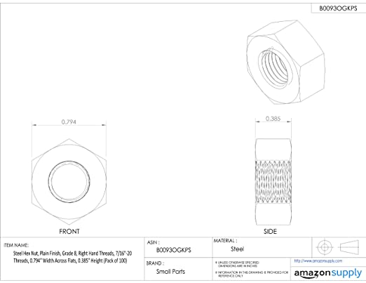 Steel Hex Nut Pack of 25 Grade 8 Plain Finish 0.559 Height 1.083 Width Across Flats 5//8-18 Threads