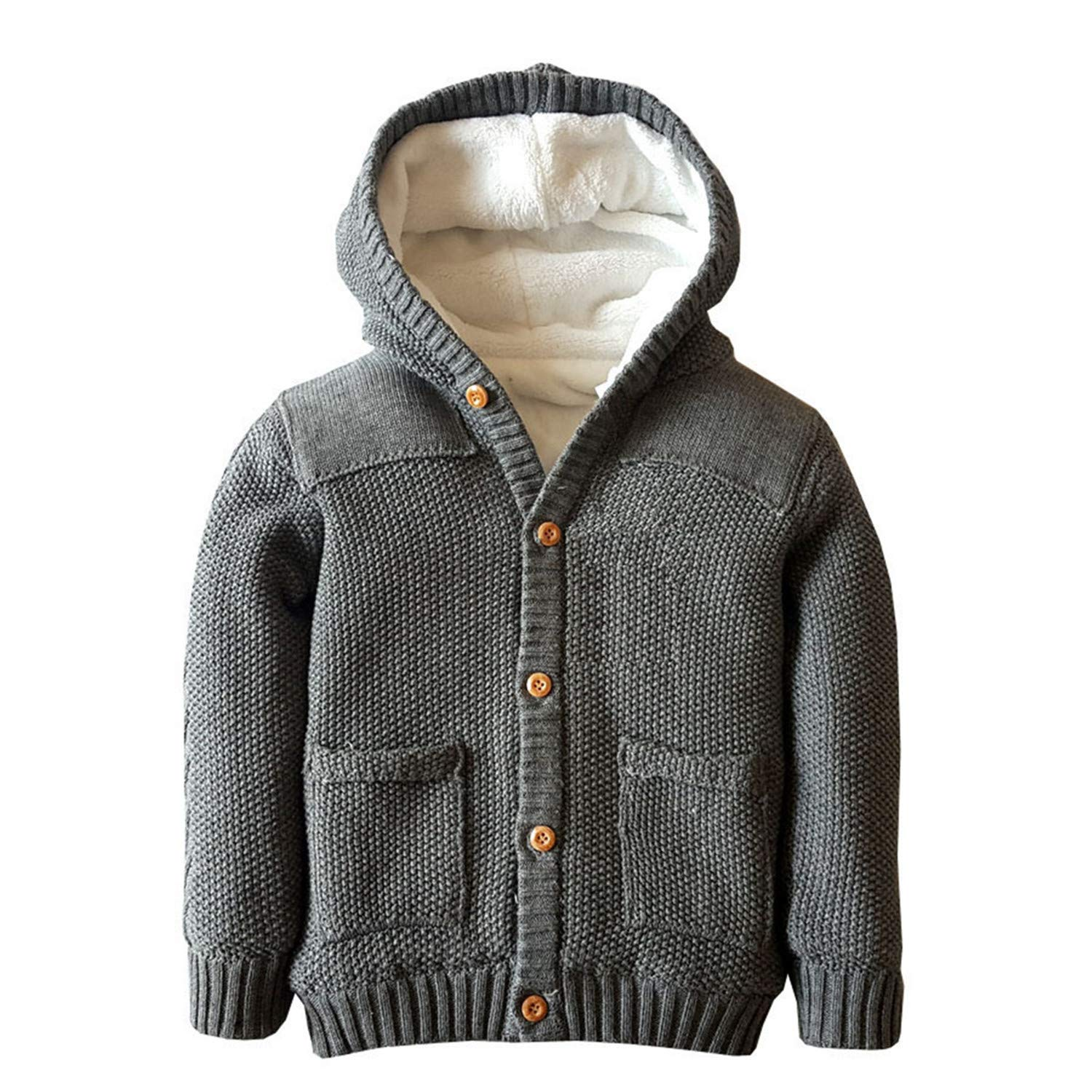 Baby Boys Hoodies Sweater Toddler Girls Knit Cardigan Outerwear Gray by Dealone