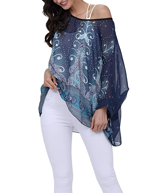 711b2cd9be7 Vanbuy Women Summer Floral Printed Shirt Batwing Sleeve Top Chiffon Poncho  Casual Loose Blouse