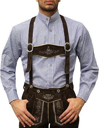 Traje Camisa con cuello alto para traje piel Pantalones azul oscuro/Cuadrícula Azul azul: Amazon.es: Ropa y accesorios