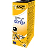 BIC Orange Grip Stylos-bille Pointe Fine - Noir, Boîte de 20