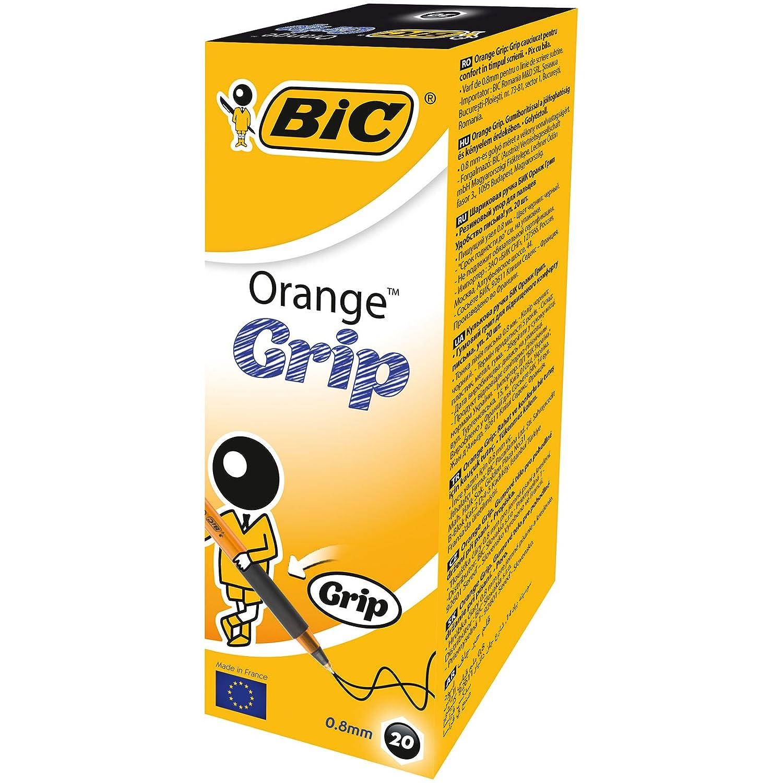 Bic Orange Grip Punta Fine 0,8 mm Confezione 20 Penne Colore Nero 574581