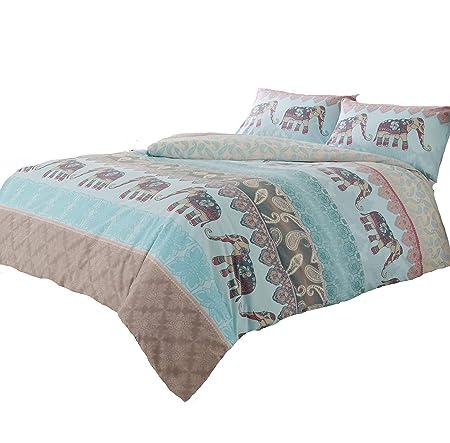 BED LINEN DUVET COVER SET QUILT COVER SET REVERSIBLE SHABBY CHIC ELEPHANT BUDDHA