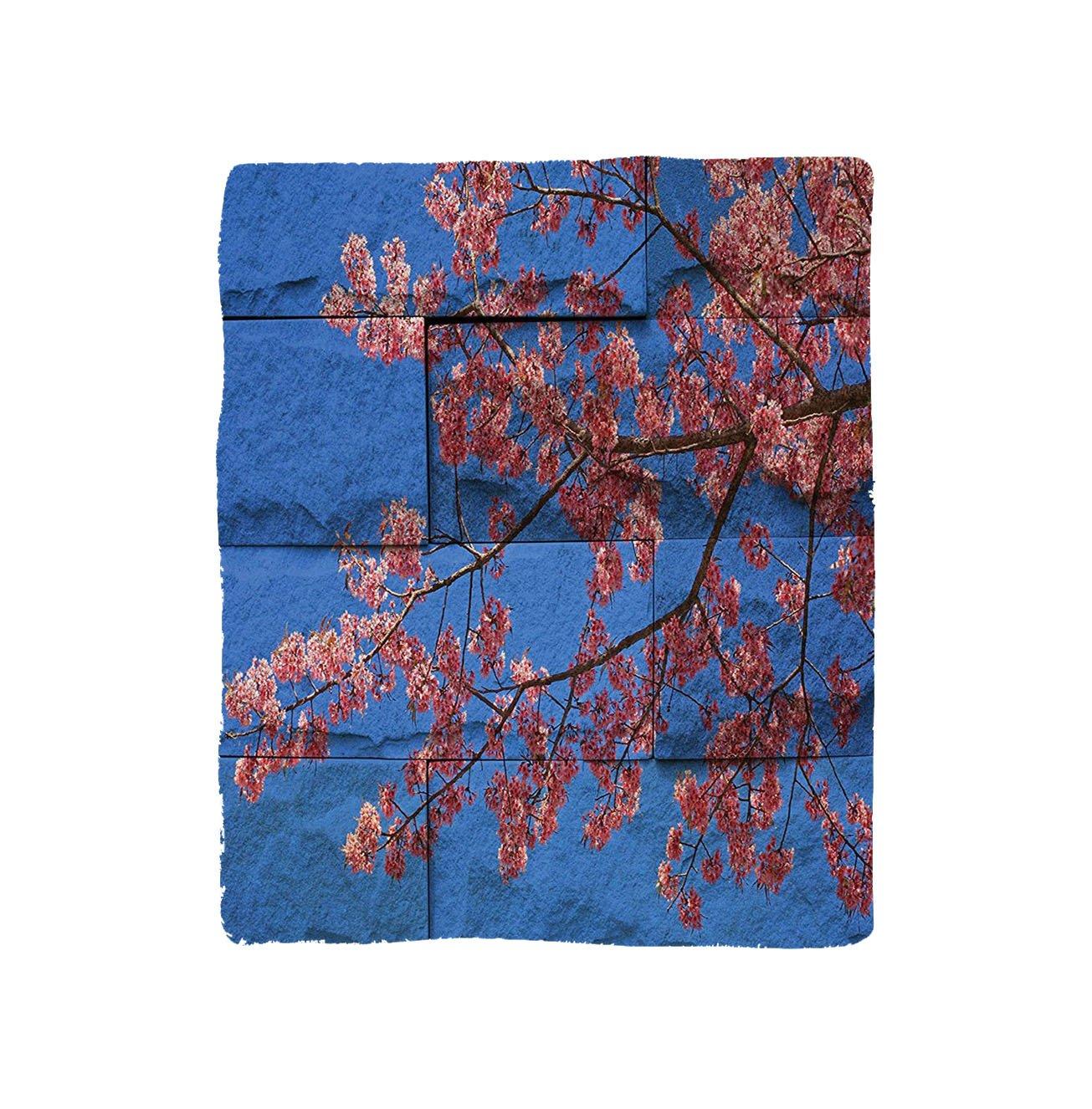 VROSELV Custom Blanket Rustic Home Thai Sakura Blossom Mural Branch with Flowers Spring Floral Beauty Print Bedroom Living Room Dorm Pink Blue