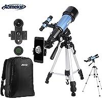 Aomekie Telescopio Astronómico 70/400 Telescopios Niños con Adaptador de Teléfono 10X Mochila Trípode Ajustable Filtro de Luna y Lente 3X Barlow