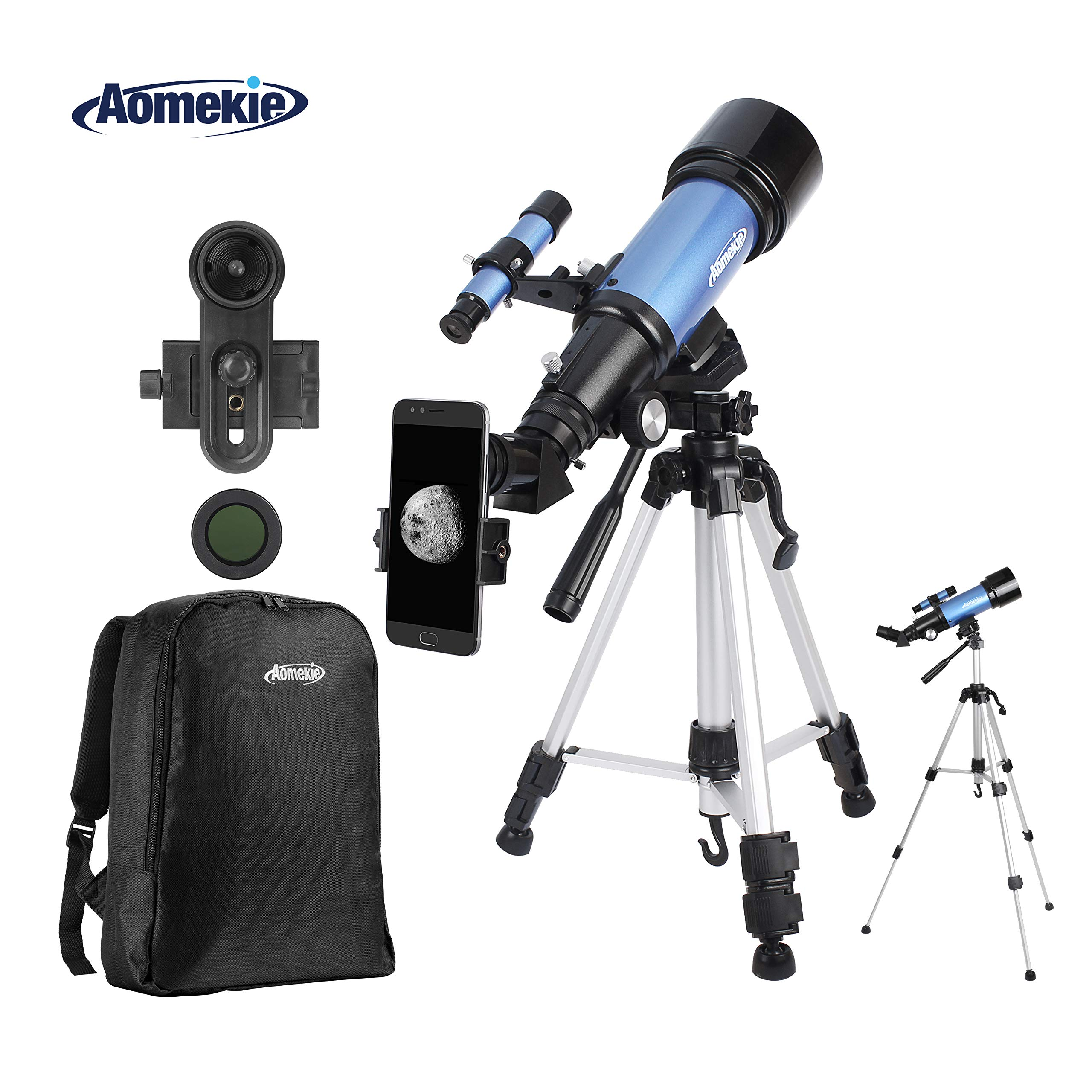Aomekie Telescope for Adults Kids Astronomy Beginners 70mm Refractor Telescopes with Adjustable Tripod 10X Phone Adapter Finderscope 3X Barlow Lens and Backpack by AOMEKIE