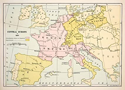 Map Of Italy France And Spain.1891 Print Antique 1811 Map Central Europe England Germany Italy