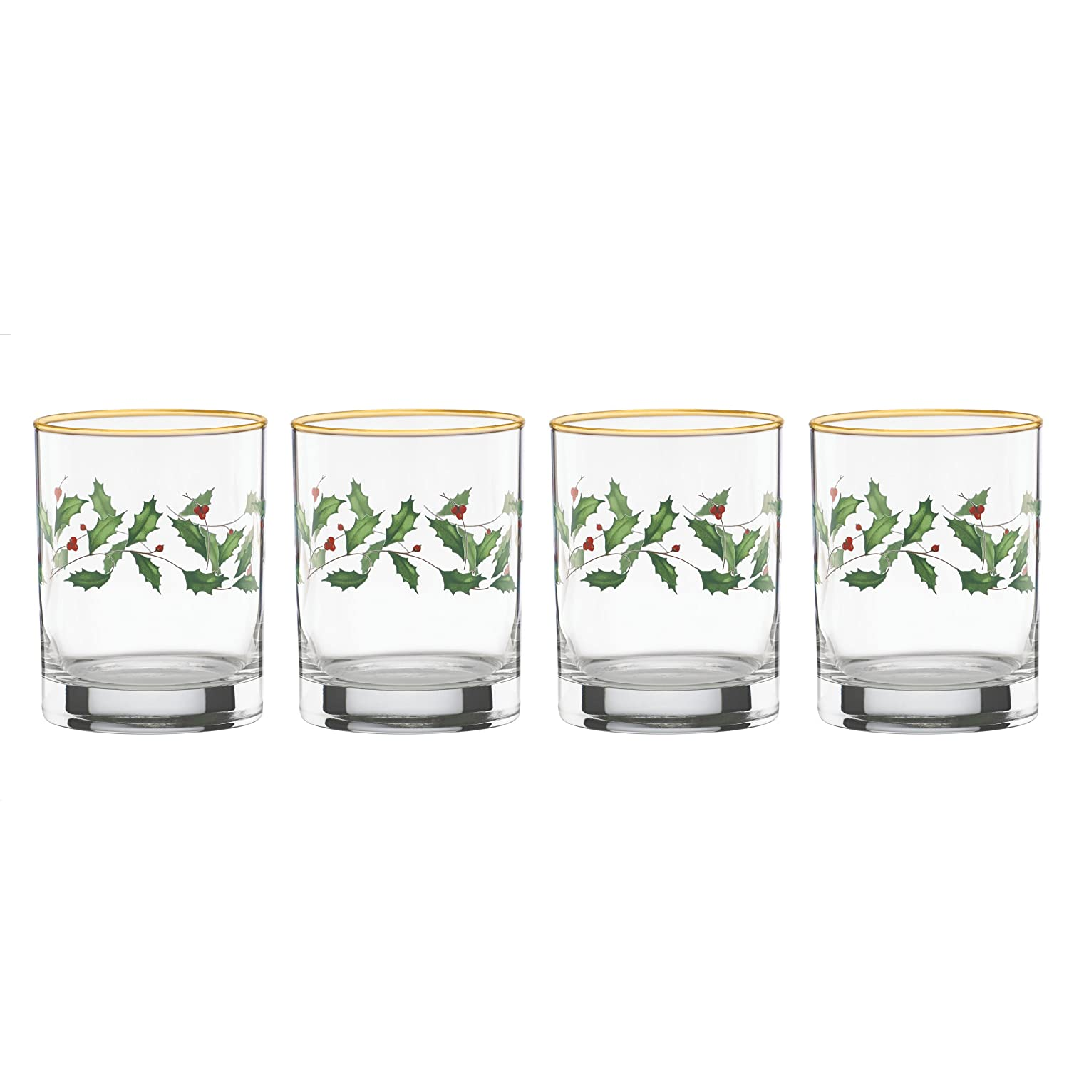 Christmas Holly Short Glass Tumblers