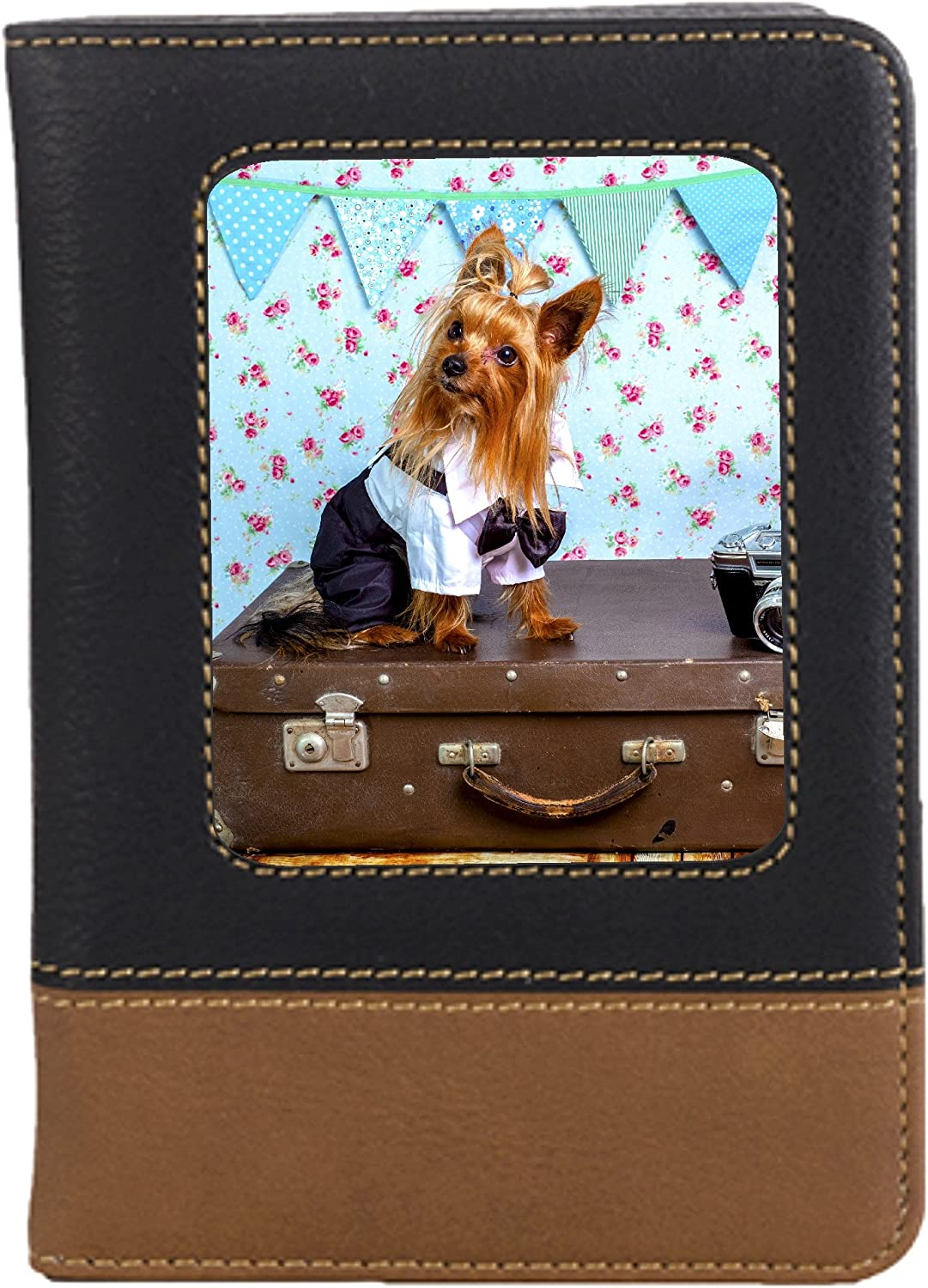 Travel Yorkie Dog Leatherette Passport Wallet Style Case Cover For Travel