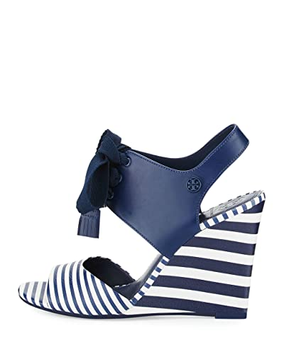 9c5ad20d3a2c Tory Burch Maritime Striped Leather 100MM Wedges Women s Shoes ...