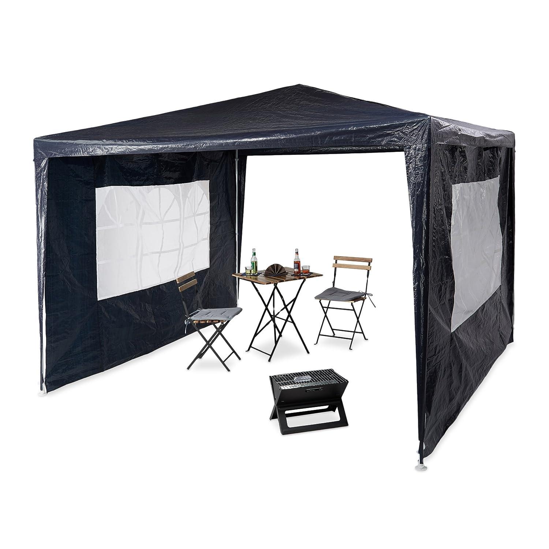 Relaxdays Pavillon 3x3 m, 2 Seitenteile, Metall Gestell, PE Plane, Fenster, Festival Partyzelt, Geschlossen, Blau