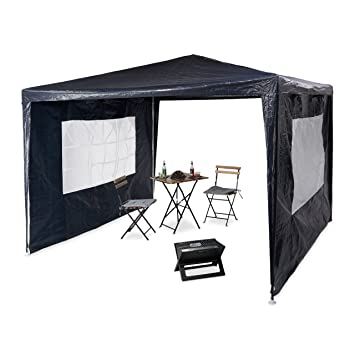 Sehr Amazon.de: Relaxdays Pavillon 3x3 m, 2 Seitenteile, Metall Gestell HN81