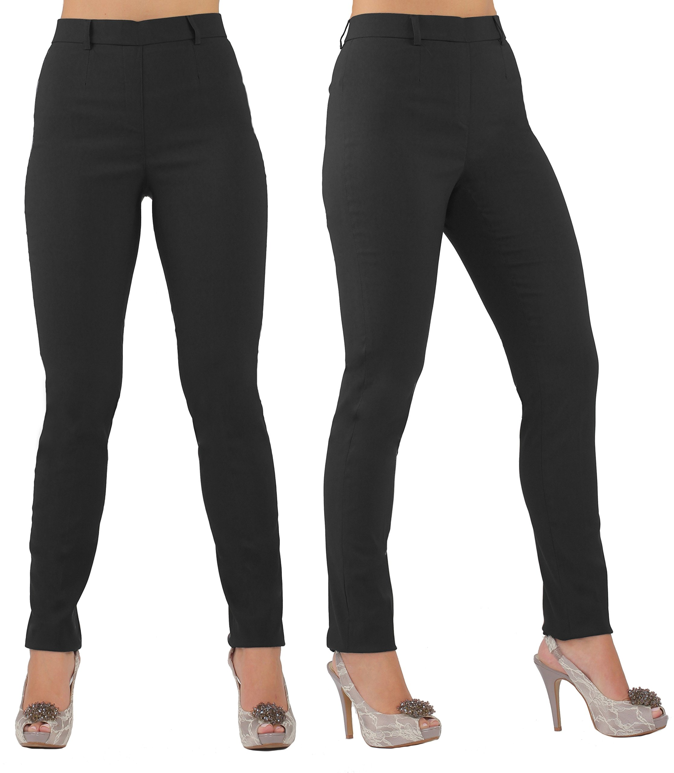 Lior Paris Women's LULU a Skinny Tapered Leg Pull on Pant Featuring a Flat Fit Front and Functional Belt Loops (5,Black)