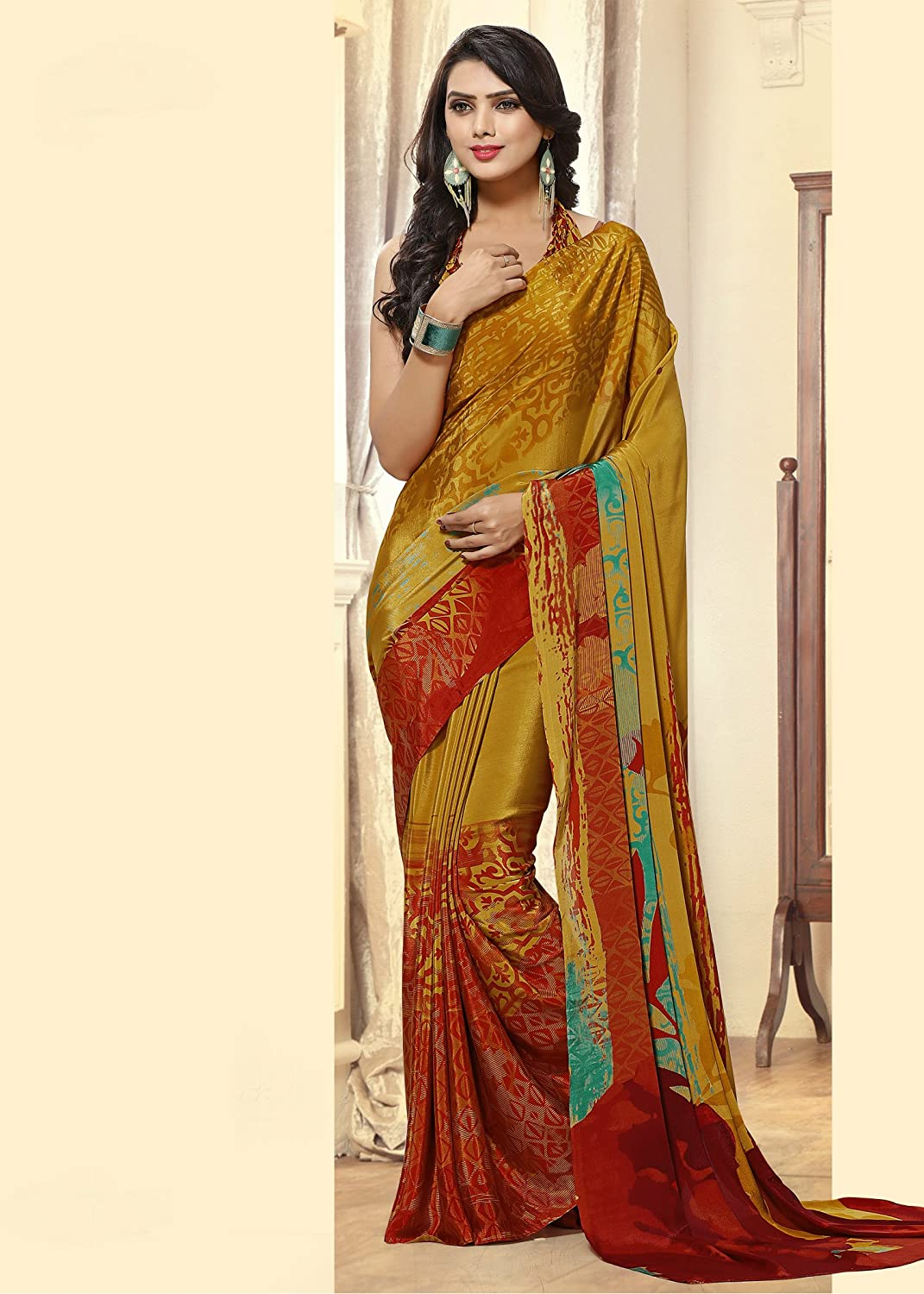 564ef303e5 Amazon.com: Jaanvi fashion Women's Crepe Printed Saree (Orange): Clothing