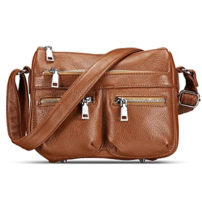 ebe145a76c51 Lecxci Women s Large Soft Leather Multi-purpose Crossbody Handbag Shoulder  Travel Bags Purses for Women
