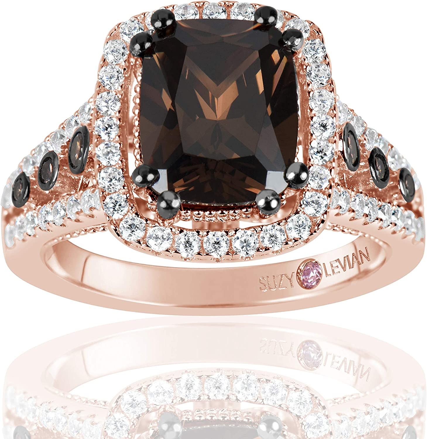 Suzy Levian Rose Sterling Silver Brown Chocolate and White Cubic Zirconia Engagement Ring