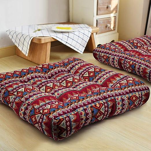 HIGOGOGO Bohemian Floor Pillow, Large Mandala Meditation Pillow Square Boho Seat Cushion Indian Yoga Cushion Floor Pad for Home Bay Window Party ...