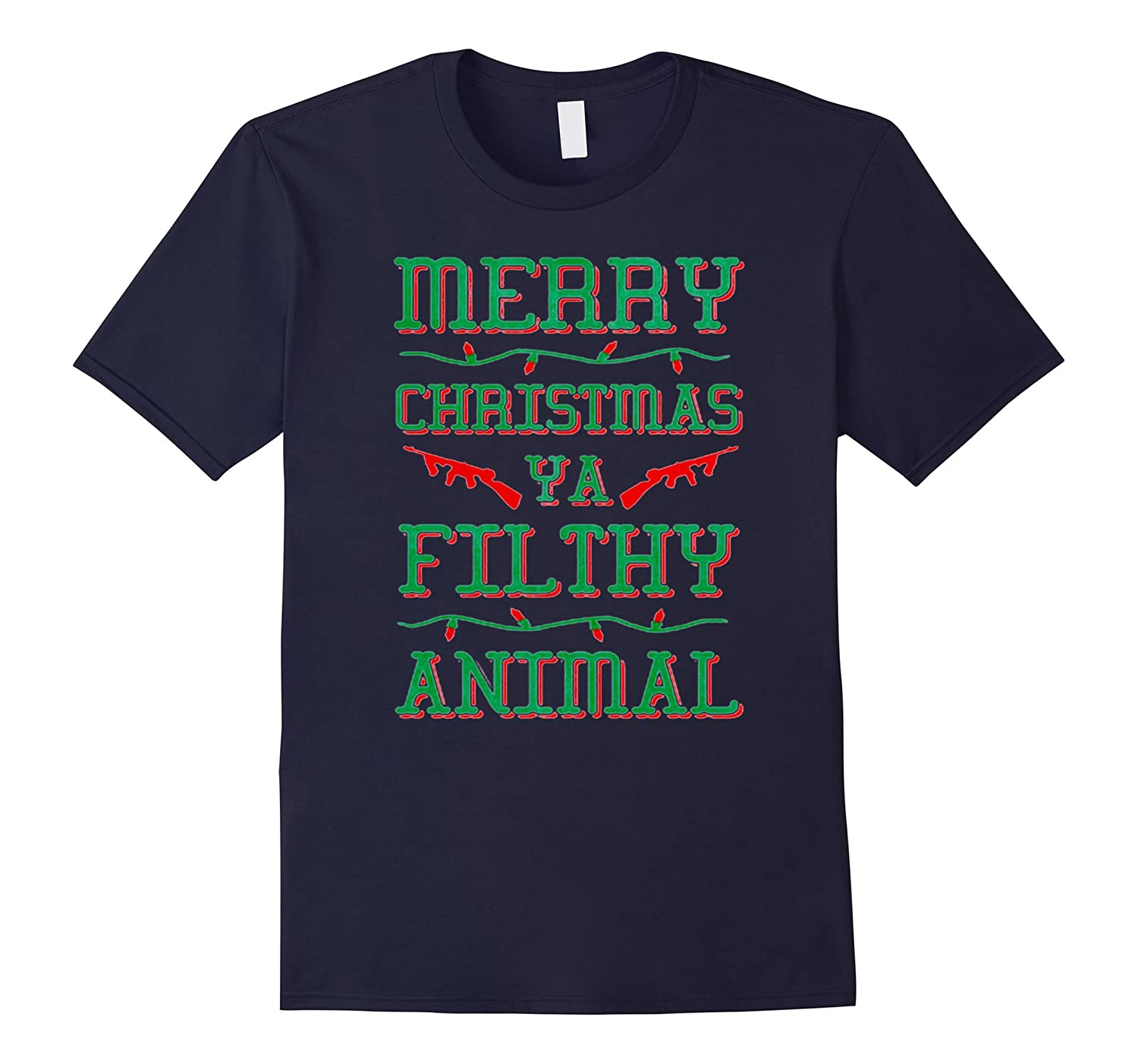 MERRY CHRISTMAS YA FILTHY ANIMAL BASE BALLS TSHIRT-azvn