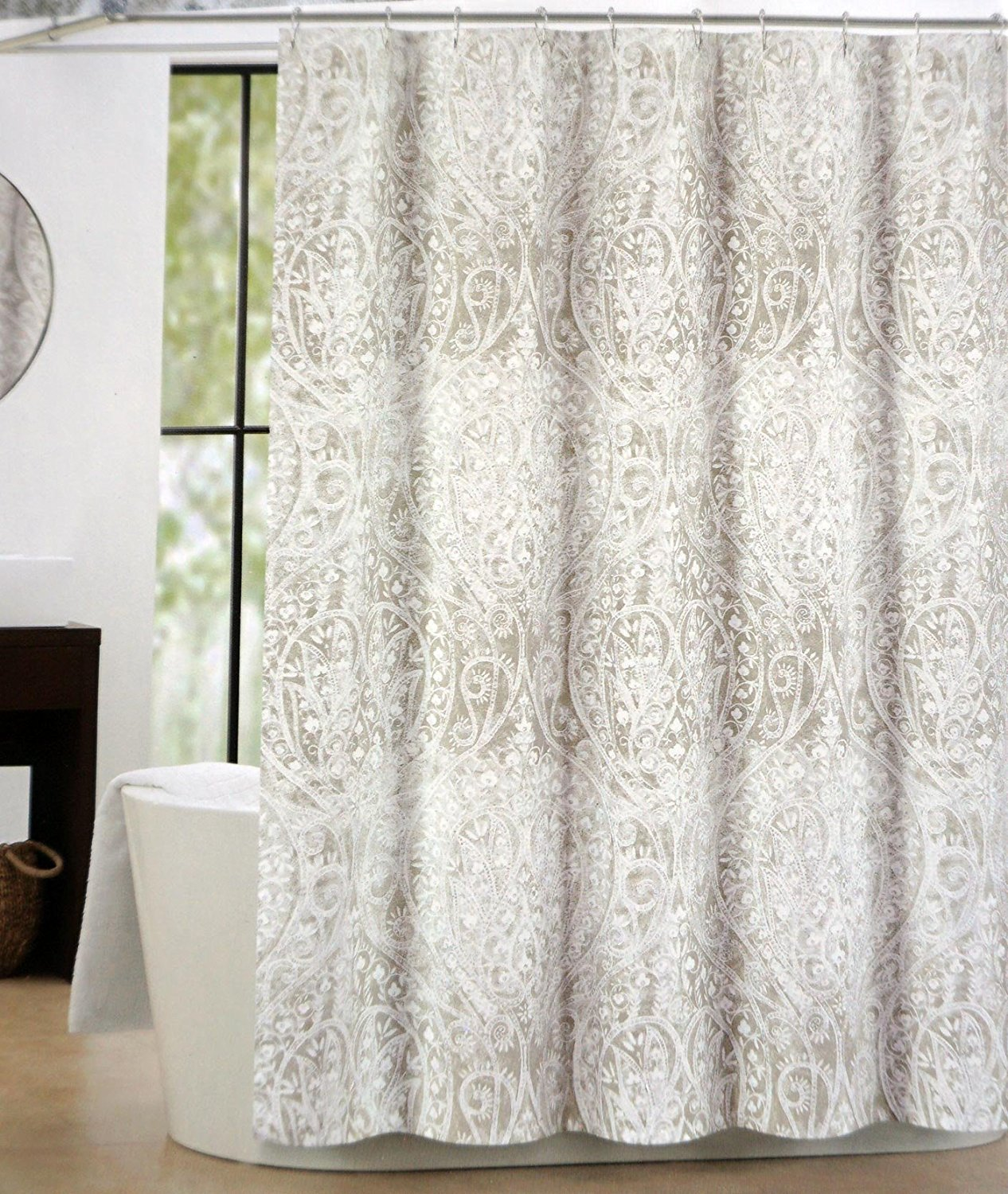 Amazon Tahari Fabric Shower Curtain Taupe Beige White Paisley Floral Pattern With Silver Highlights Nedie Home Kitchen