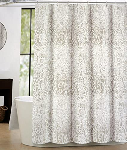 Merveilleux Tahari Fabric Shower Curtain Taupe Beige White Paisley Floral Pattern With  Silver Highlights    Nedie