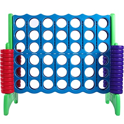 Giant 4 in A Row, 4 to Score - Premium Plastic Four Connect Game JUMBO 4 Foot Width Set with 44 Rings by Rally & Roar – Oversized Fun Family, Indoor/Outdoor Games: Sports & Outdoors
