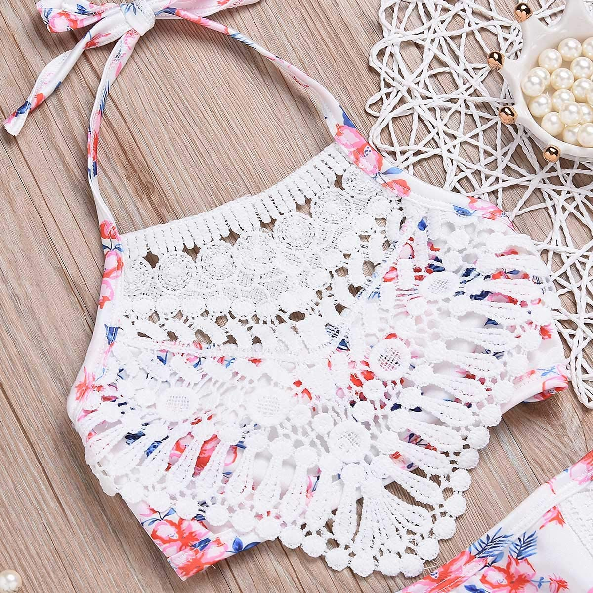 Shorts Bathing Suits Toddler Baby Girl Swimsuit Floral Lace Sling Bikini Shell Flower Top