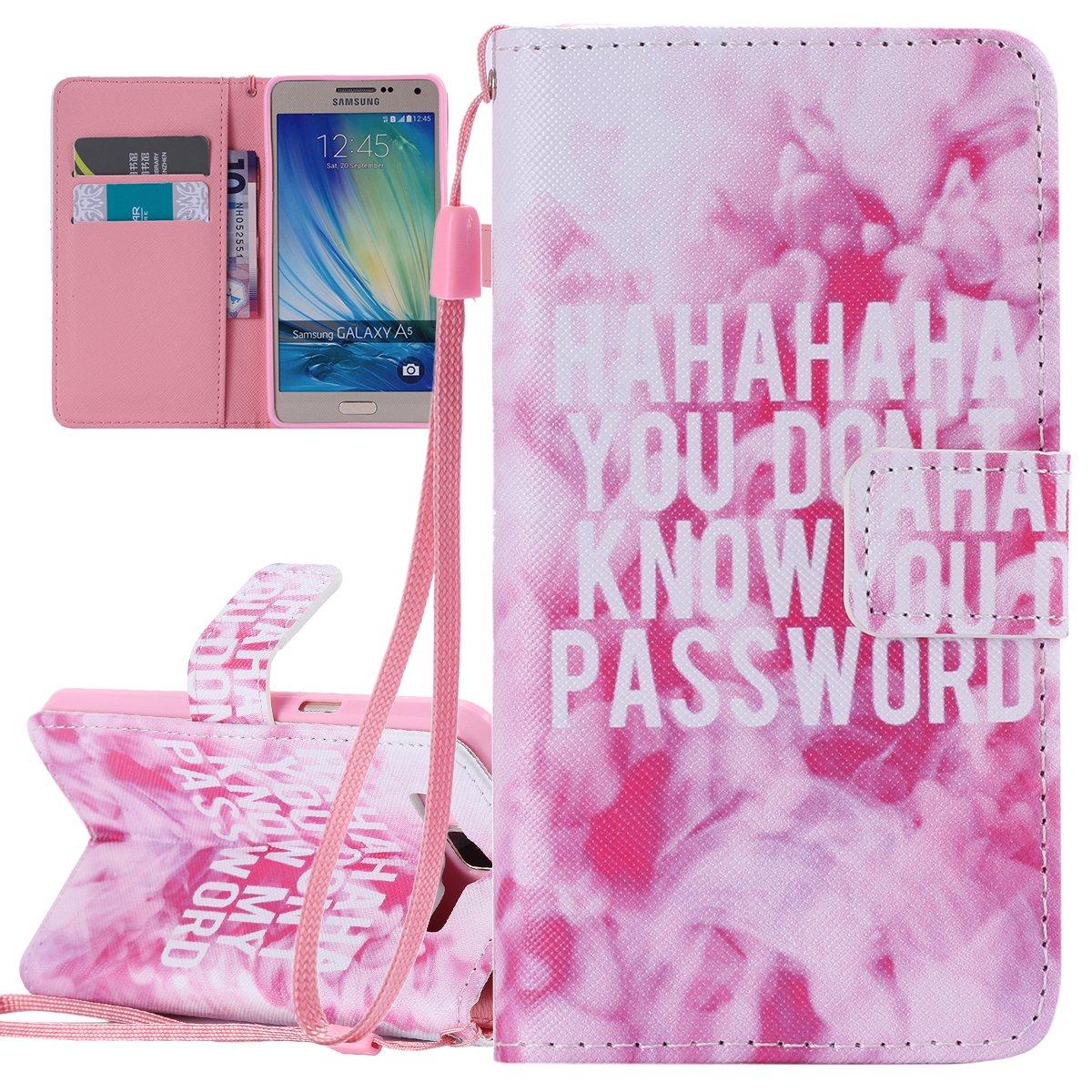 ISAKEN Custodia Samsung Galaxy A5 2015, Galaxy A5 2015 Flip Cover Libro Portafoglio Wallet Cover Albero Design in Pelle PU Protezione Caso con Supporto di Stand/Carte Slot/Chiusura - Albero: Blu FASNO011687