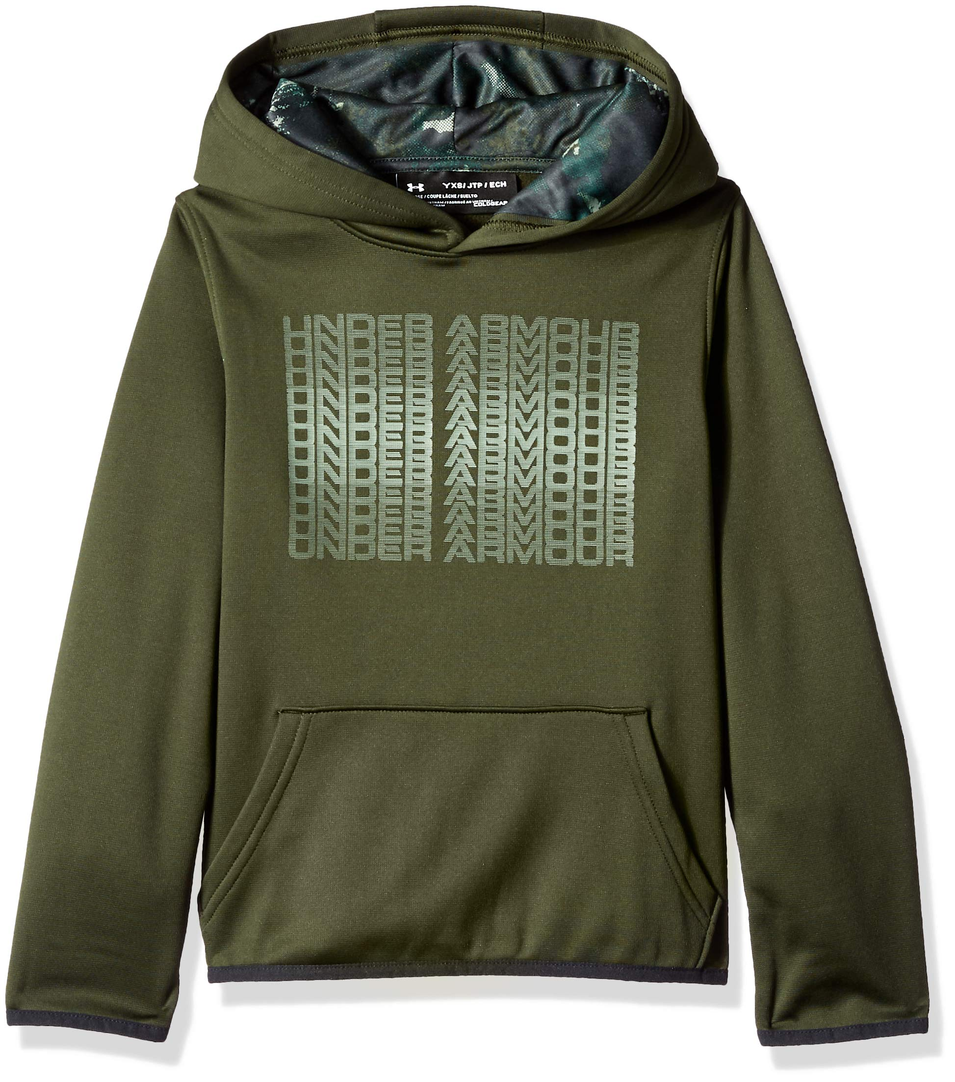 Under Armour Boys' Armour Fleece Branded Hoodie, Artillery Green (357)/Moss Green, Youth Large by Under Armour