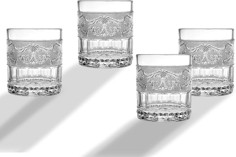 Renaissance Glass Beverage Set DOF Tumbler Water, Juice Cup - Set of 4