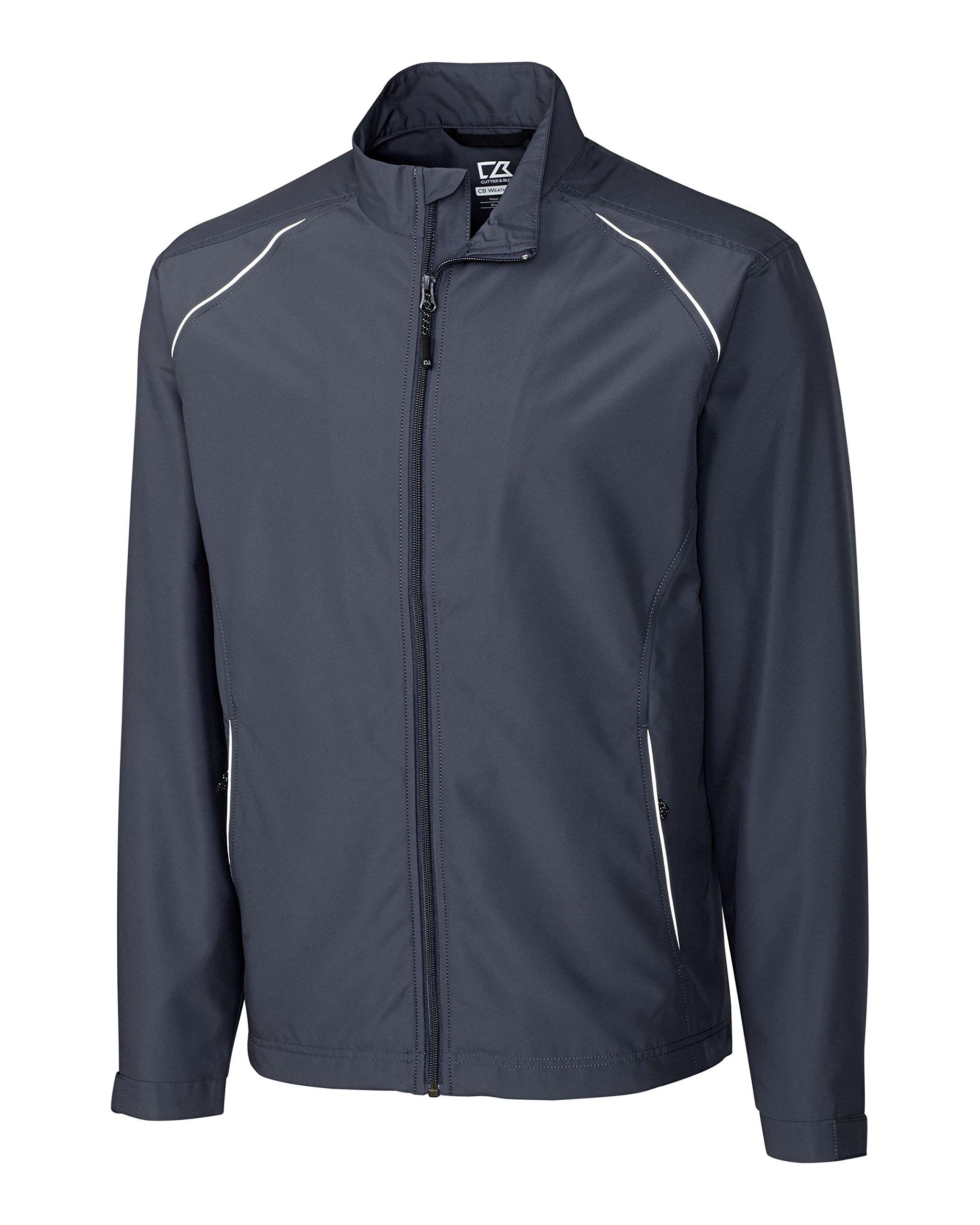 Cutter & Buck BCO00923 Men's CB Weathertec Beacon Full Zip Jacket Onyx LT