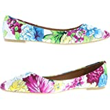 Gold Toe Women's Valeria Slip On Colorful Floral Pumps Pointed Toe Ballet Dress Flat Shoes w/ Memory Foam