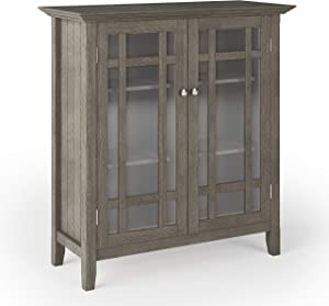 SIMPLIHOME Bedford SOLID WOOD 39 inch Wide Rustic Medium Storage Cabinet in Farmhouse Grey, with 2 Tempered Glass Doors, 4 Adjustable Shelves