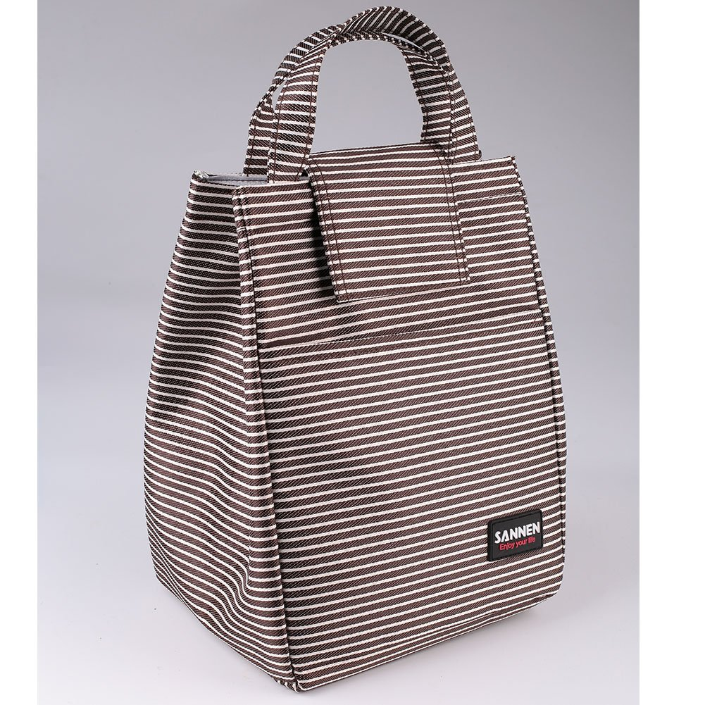 Reusable Lunch Bag, Non-Toxic Eco-Friendly Canvas Fabric Insulated Waterproof Aluminum Foil, Stripes Lunch Box Tote Handbag for Women, Students Cooler Bag hongfei